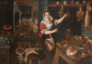 Jean Baptiste de Saive's Kitchen Interior with Maid, 1563